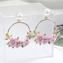 Fashion Cute Pink Flower Earrings For Women Accessories Girls Jewelry Female Rhinestone Round Geometric Drop Earrings Gifts a suit of cute rhinestone geometric earrings for women
