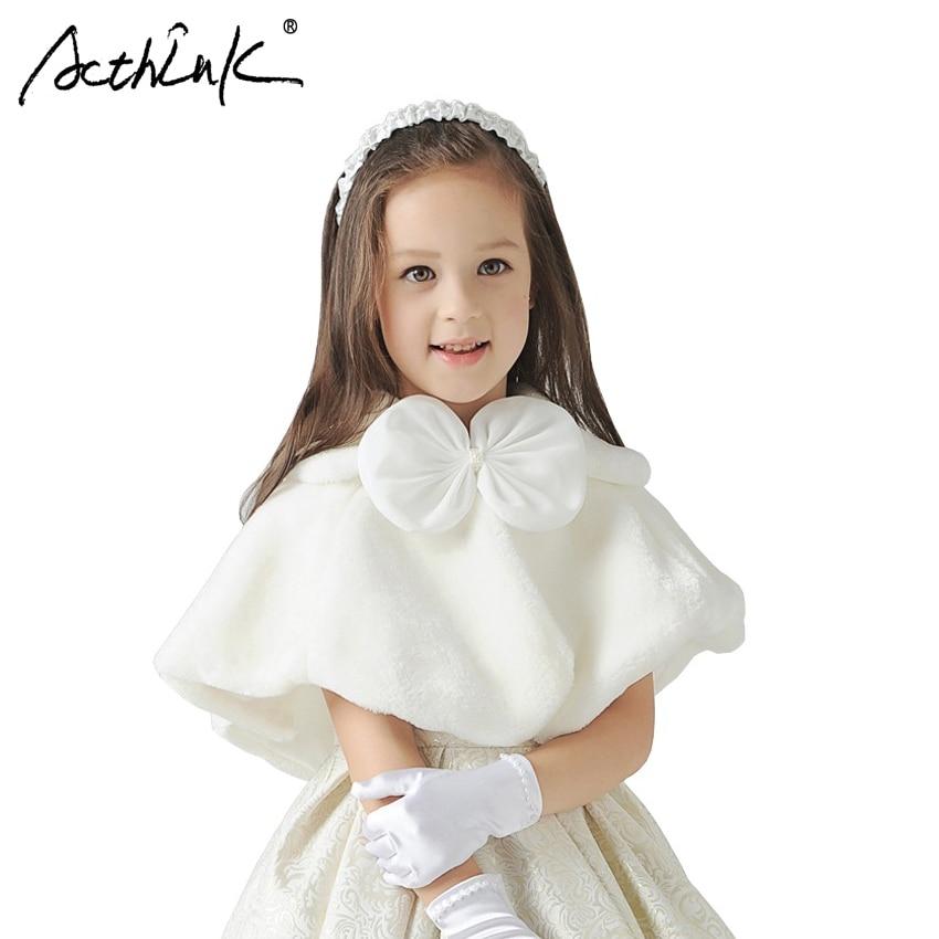 ActhInK 2018 Yeni Qızlar Qış Toy Geyimi Faux Fur Bolero Marka Baby Qızlar Formalı Qısaqol Uşaq Uşaqlar İsti Cape Qızlar Palto, C266