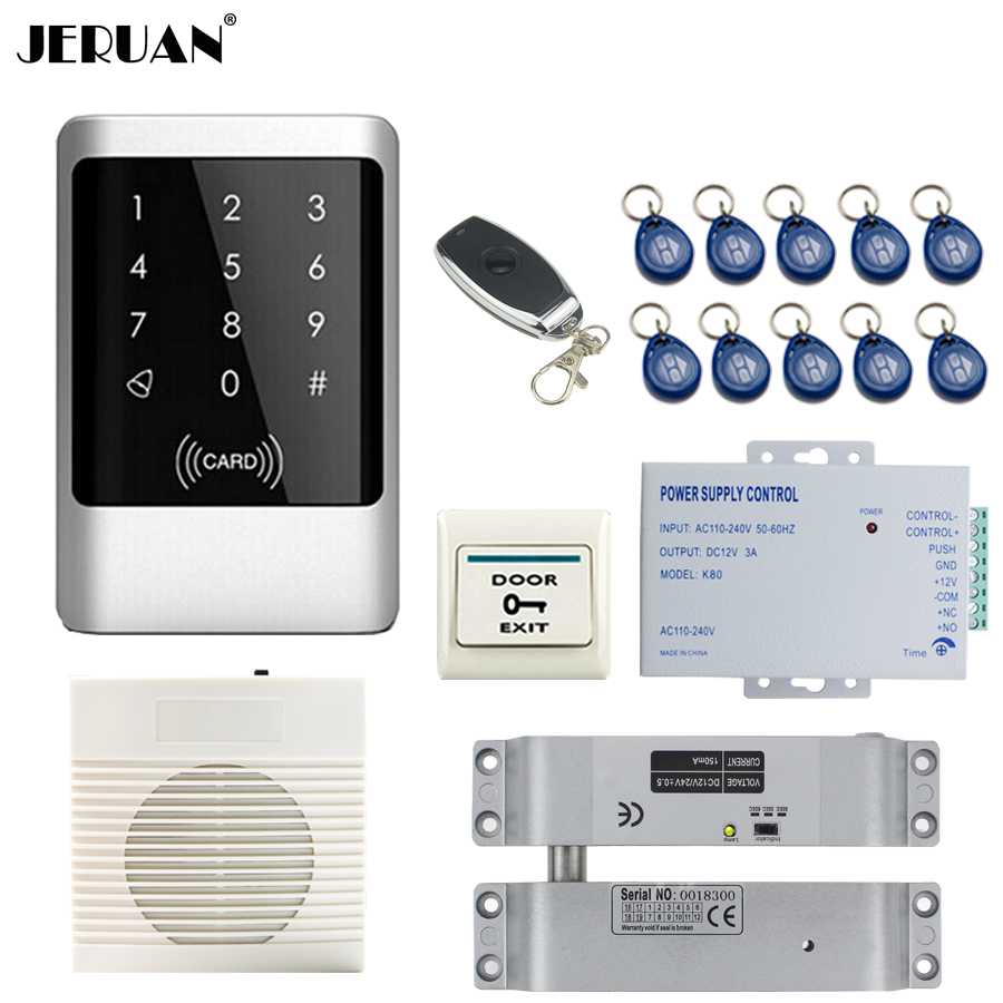 все цены на JERUAN Metal Waterproof RFID Password touch Access Controller system kit+doorbell+Remote control+In stock Free shipping