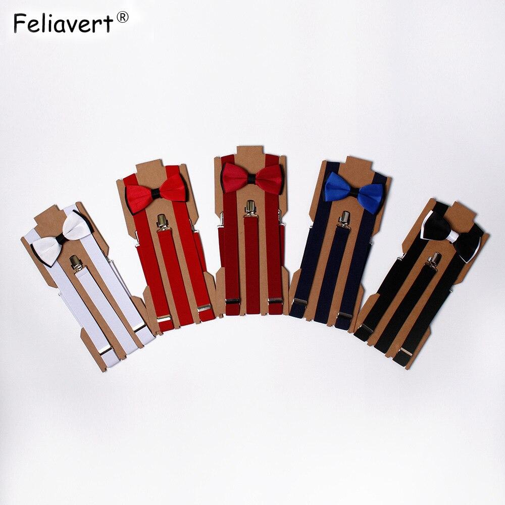 Feliavert Mens Bow Tie+Braces Set Solid Color Business Casual Suspenders Groom Groomsmen Bowtie Sets Adjustable Elastic