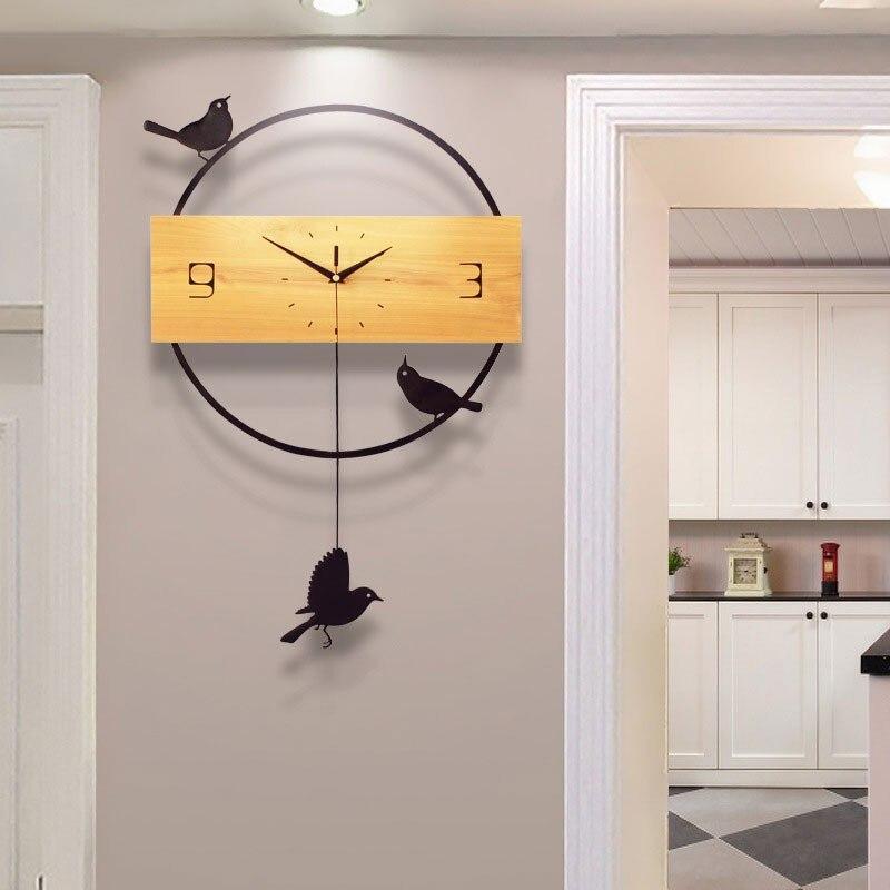 Nordique oiseau décoration murale maison grande horloge murale horloge murale suspendus mur mode décor Simple électronique horloge à Quartz