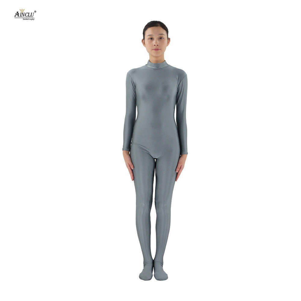 Ainclu Women Lycra Spandex Zentai Gray Skin-tight Without Head and Bare Hands Adults Dancewear Costume Hallween Bodysuit