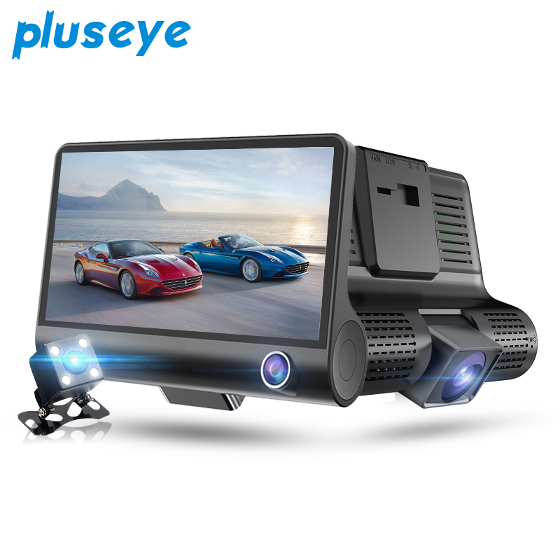pluseye Car DVR Camera Three Lens with Rear View Registrar Car Recorder for Road Vehicle 1080P Dash Camera