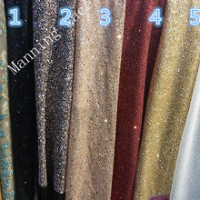 5 colors gold/black/champagne gold is very sparkly Indian wedding fabric with hand-printed glue and sequins the latest evening