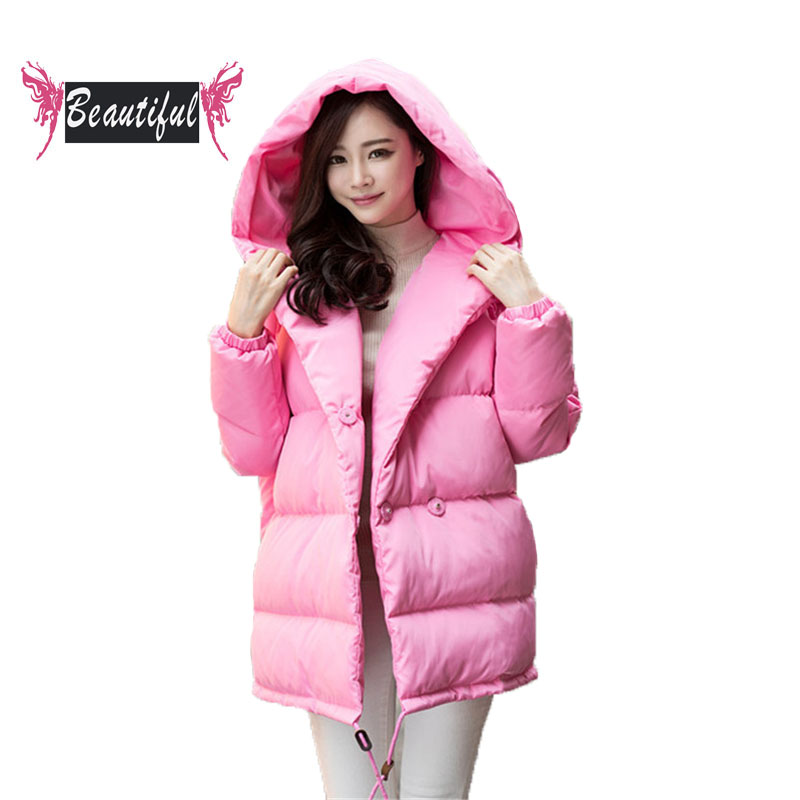 New women down jacket fashion loose mantle type with sleeve coat casual bat sleeve medium long warm coat winter parka casacos