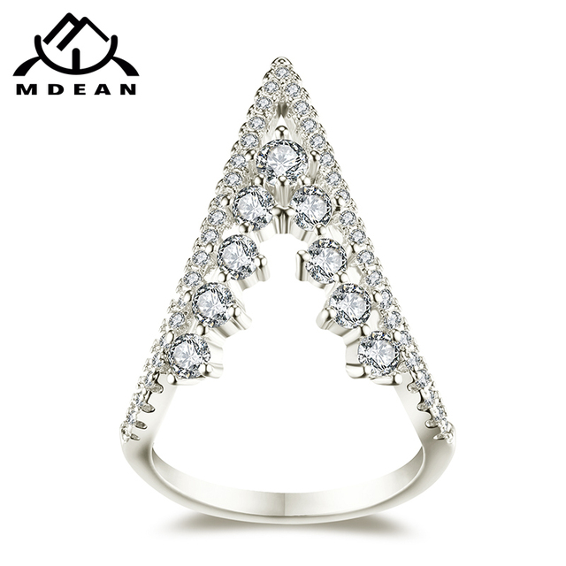 MDEAN White Gold Color Wedding Trendy Rings AAA Zircon Jewelry for Women Engagem