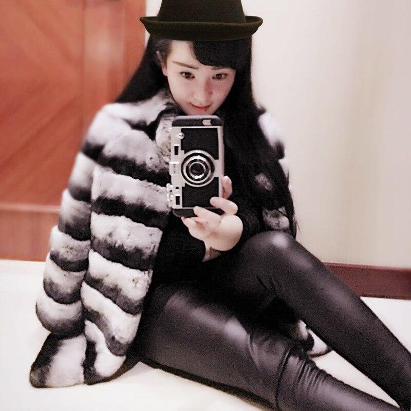 Oycp Chinchilla abrigo de piel de conejo Rex real natural abrigos de piel  2018 abrigo de piel de invierno Chinchilla Rex en Abrigos de Piel de La  ropa de ... b2f6daaa1637