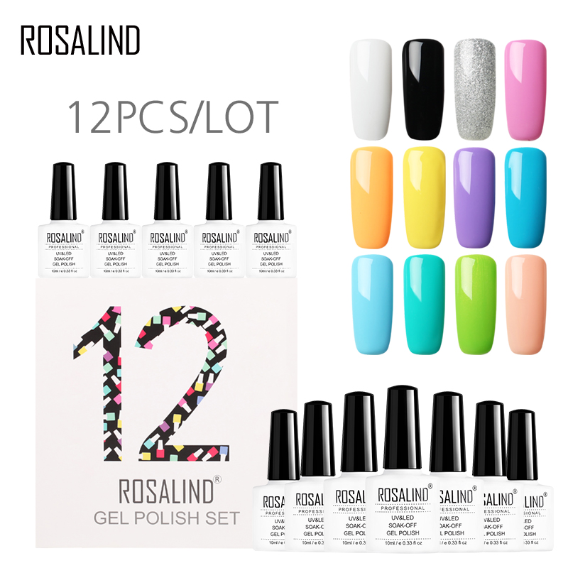 12pcs lot rosalind 10ml nail polish kit vernis set for manicure semi permanent nail gel