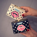Women Wallet 2017 Fashion Wallet Female Multi-function Wave Point Lips Wallets Purses Short Design Three Fold Credit Card Holder