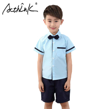 ActhInK New 2Pcs Teenage Boys Summer Shirt Suit School Uniforms Kids Formal Wedding