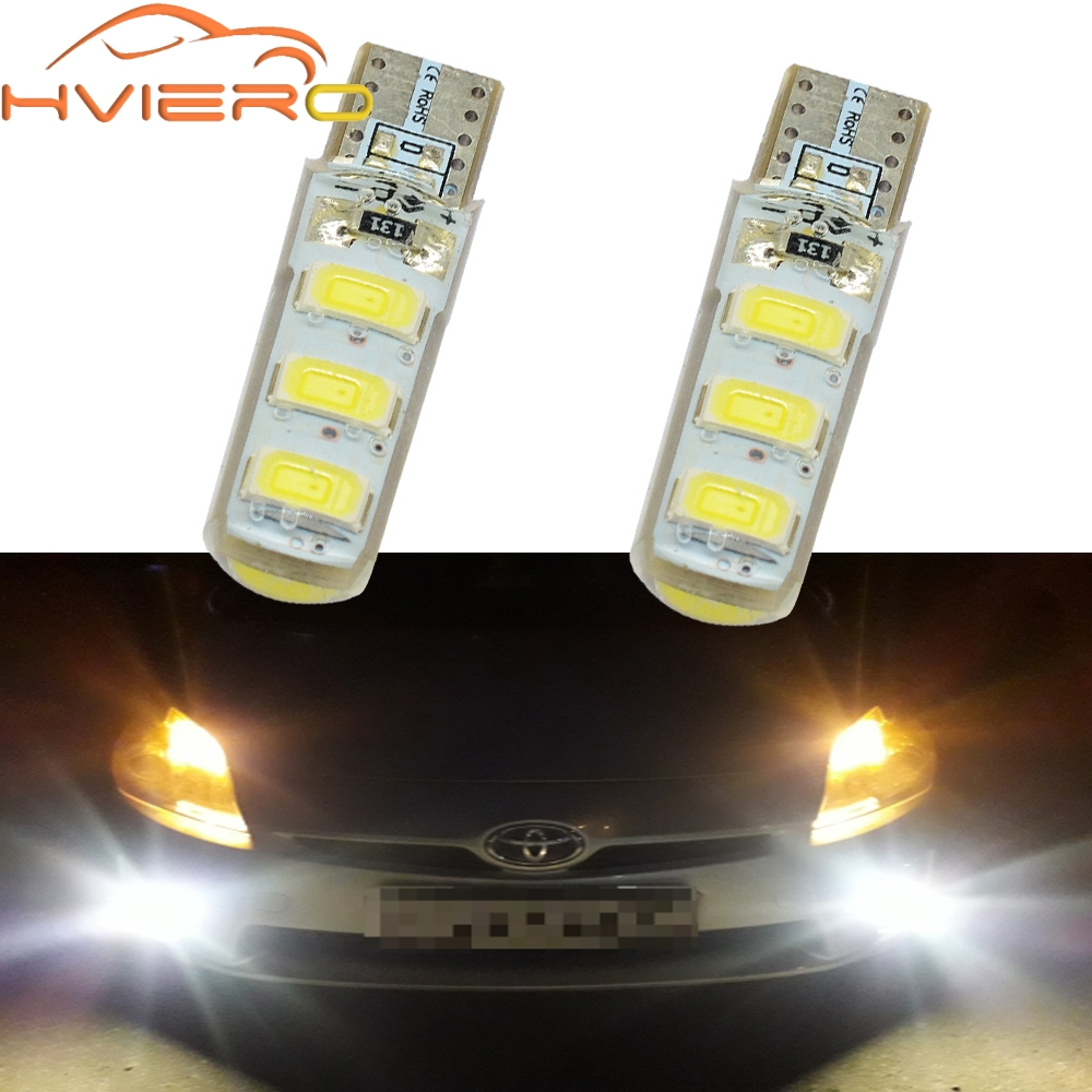Car Lights 2x White Car Led T10 W5w Dc 12v Canbus 12 Smd Silicone Waterproof 194 Led Wedge Lights No Error Bulb Parking Fog Light Auto Led