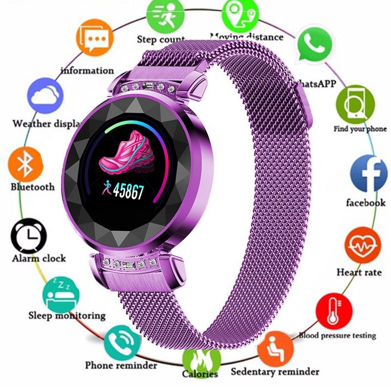 Date Mode H2 montre connectée Femmes 3D Diamant En Verre Coeur Taux La Pression Artérielle moniteur de sommeil Meilleur Cadeau Smartwatch De Luxe Femmes
