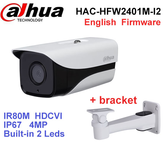 Dahua HDCVI Stellar Camera HAC-HFW2401M-I2 HD 1080P 4MP built-in 2 leds IR 80m security cctv Camera with bracket цена