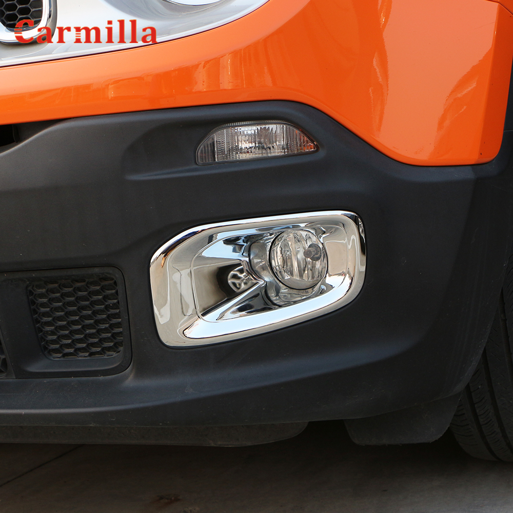 WASHZD Car Chrome Fog Light Cover Front Fog Lamps Protector Trim Stickers,for Jeep Renegade 2015 2016 2017 2018 2019 2020 Accessories