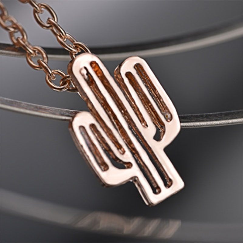 Bohemian Cactus Pendant Necklace Simple Style Plant Cactus Gold Necklace for Women Girl Kids Fashion Jewelry Gifts Bijoux WD91 in Pendant Necklaces from Jewelry Accessories