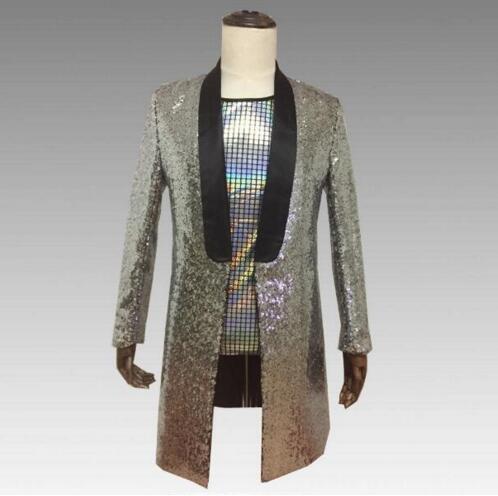 2018 brillant haute densité paillettes Slim solide veste discothèque hôte tenue hommes chanteur spectacle longue veste magicien fête spectacle tenue