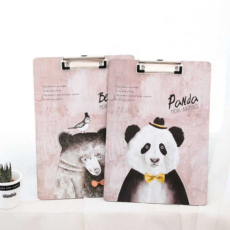 Coloffice 1PC Lovely Cartoon Wooden Animals A4 Straight Plywood Fashion Signed Clipboard Kawaii WordPad Vertical Writting Board