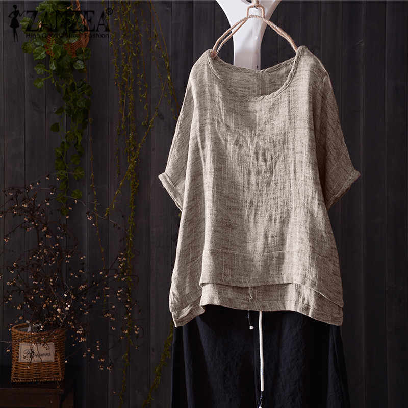 ZANZEA Solid Baggy Beach Party Blusa Zomer Tee-Shirts 2019 Fashion Vrouwen Casual O Hals Korte Mouwen Losse Blouse top