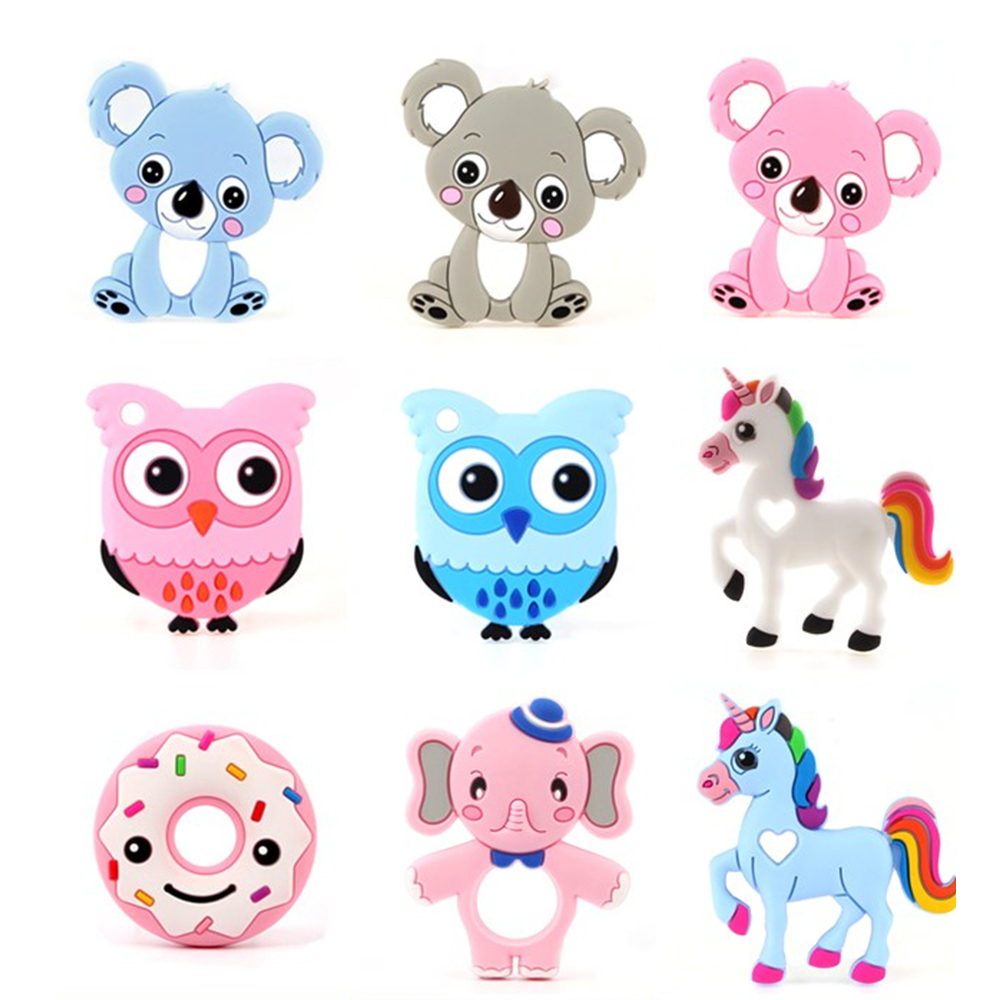 25 Colors Silicone Teethers Animal Koala Owl Elephant Baby Ring Teether Silicone Chew Charms Baby Teething Gift Toddler Toys