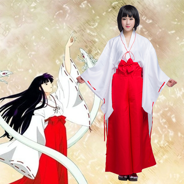 Special Sale Hot Inuyasha Kikyo Kimono Cosplay Costume Full Set Custom made  Halloween carnival Anime cosplay