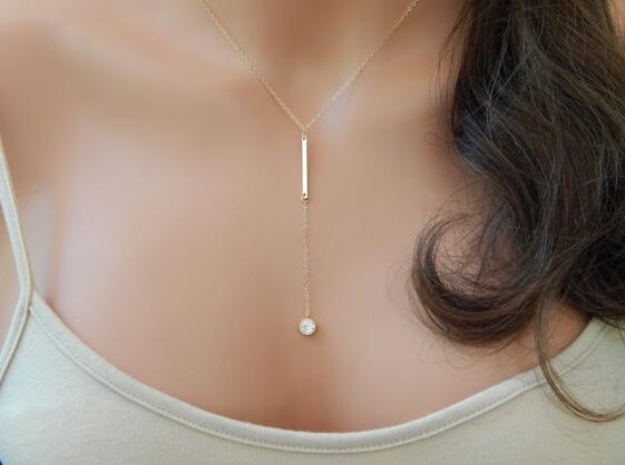 New fashion accessories Simple jewelry crystal Bar pendant necklace for women girl nice gift wholesale N058