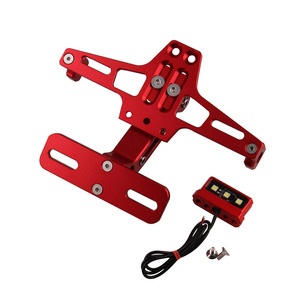 Image 3 - Motorcycle Plate License Bracket Modified Adjustable Telescopic Aluminum Universal Steering LED Light License Plate Frame