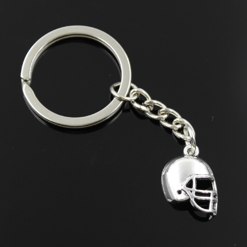 new fashion men 30mm keychain DIY metal holder chain vintage soccor football helmet 20*15mm antique silver pendant