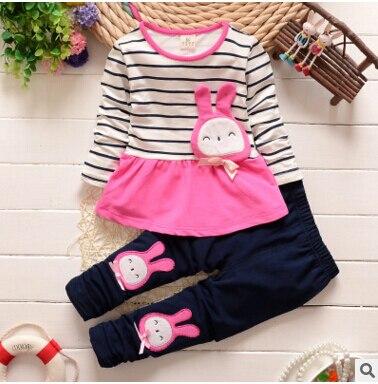 Высокое качество новорожденных девочек одежды комплект кролик с длинным рукавом печать кролик свободного покроя хлопка малышей комплект майка + брюки девушка возглавляет одежда