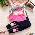 High quality Baby girls clothes Sets rabbit long sleeve Print rabbit casual Kids Cotton Set T shirt +Pants girl Tops clothing