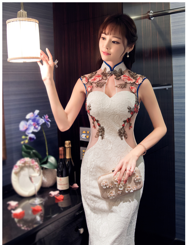 2018 Traditionnel Qipao Robe Fleur Femmes Satin Noir Traditionnelle Chinois Nouveau Cheongsam Mujer Color1 Long rxqrAF