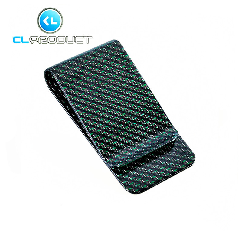 Carbon Fiber Money <font><b>Clip</b></font> Green Glossy L size- Genuine 3K Twill- Credit Card Business Wallet Money <font><b>Clips</b></font>