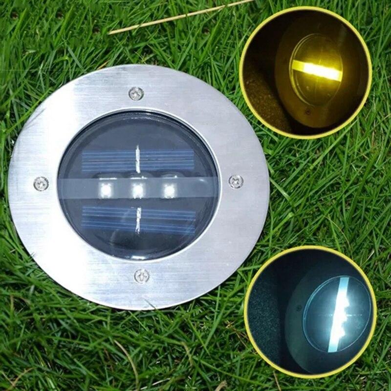 Solar Power 3 LED Light Buried Lamp Path Way Garden Under Ground Decking Yard Stainless Steel Ground underground light in Solar Lamps from Lights Lighting
