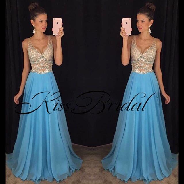 Fashion New Arrival   Evening     Dresses   2019 V-Neck Sleeveless Floor Length Beading Chiffon Prom   Dresses   Vestido de festa