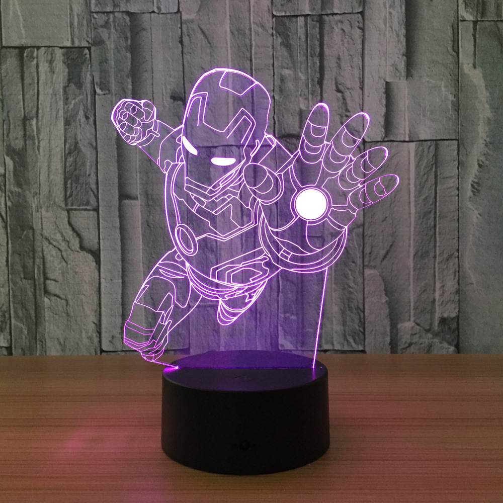 Ironman Superhero 3D Night Light 7 Colors Changing LED Lamp Ironman Action Figure 3D Novelty Light