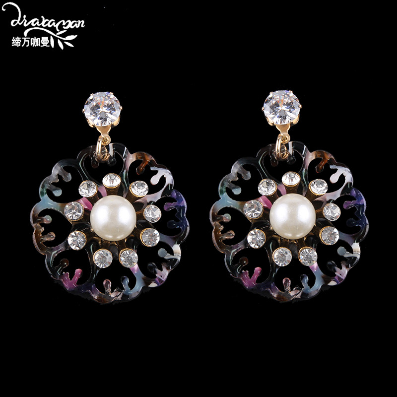Dvacaman Elegant Simulated Pearl Drop Earrings Trendy Women Round Resin Dangle Earrings Wedding Handmade Jewelry Accessory AB70