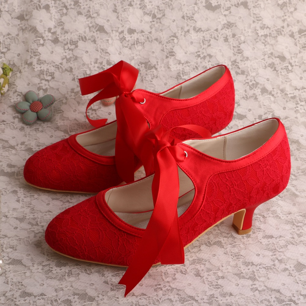 Wedopus MW306 Wedding Shoes Online Red Lace Satin Low