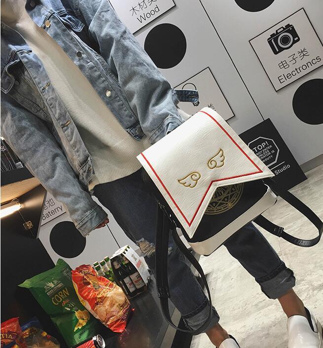 Mädchen Schulter Lolita Nette Cosplay Pu Kawaii 10 Rucksack Sakura Karte Magie Flügel Captor Stickerei Mit Teile Reizende los Tasche Taschen wq7X8