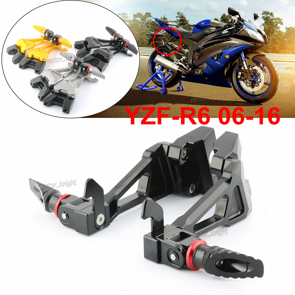 Gold Motorcycle Parts CNC Fully Adjustable Shift Rear Sets Pedal Peg fit for Yamaha YZF R6 2006 2007 2008 2009 2010 2011