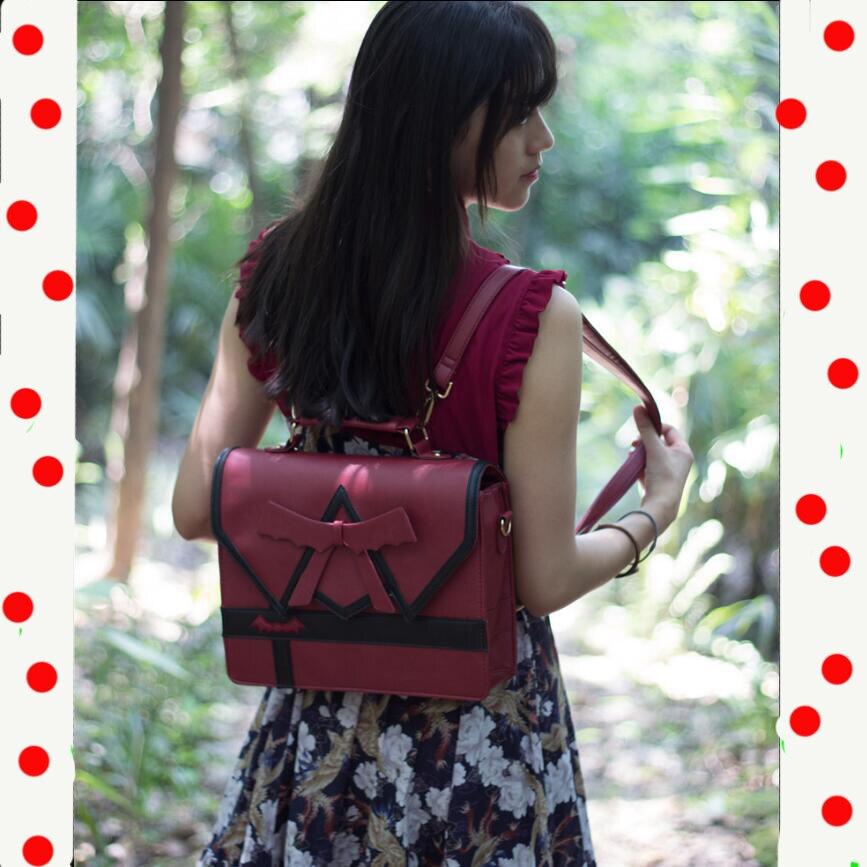 Japonais Femmes Lolita Fille Preppy Sac À Dos Sac À Main Arc sac à bandoulière sac de messager Harajuku JK Uniforme 3 Façon cartable Helloween