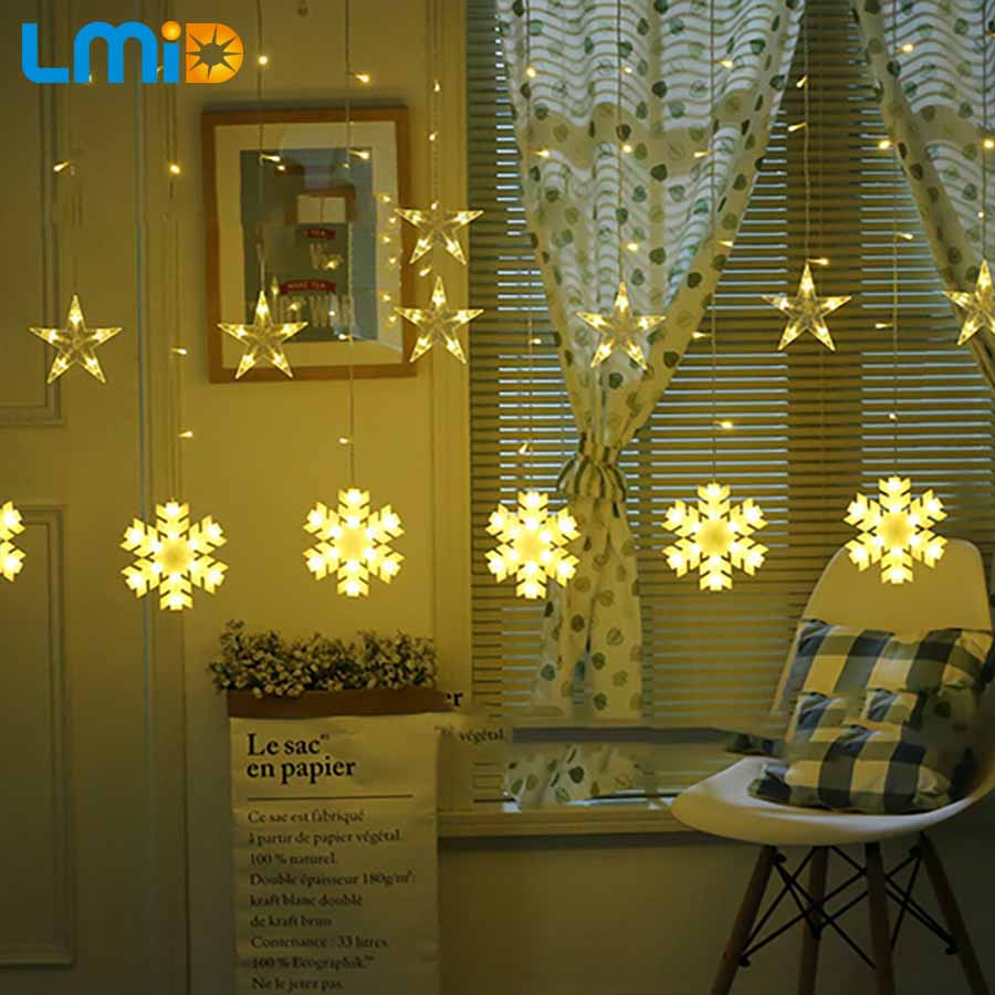 LMID Holiday Lighting led lights decoration string christmas lights indoor string lights outdoor led party decoration curtain 3m 120 bulbs led heart curtain string garland lights indoor lighting christmas lights holiday party home room decoration lamps