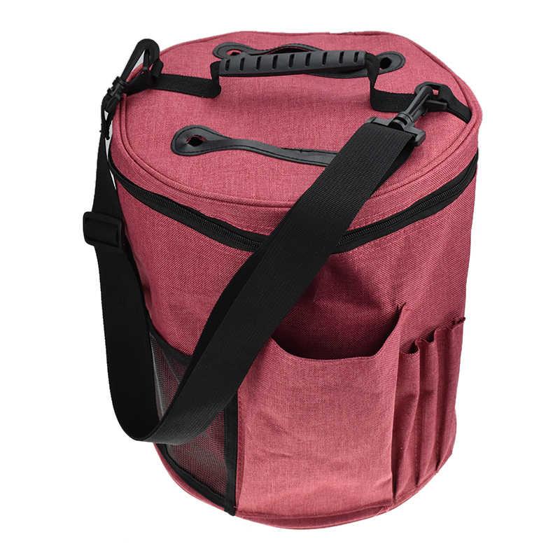 b122236efb84 ... Looen большой вязаная сумка с короткими ручками мешок пряжи сумка для  хранения для максимального организации вязаный ...
