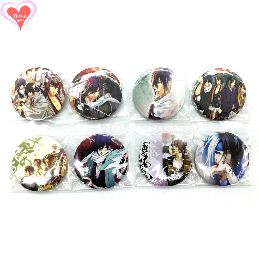 Love Thank You Hakuoki 45MM 4pcs/8 pcs lot PIN BACK BADGE BUTTON BROOCH for BAG GIFT TOY ...