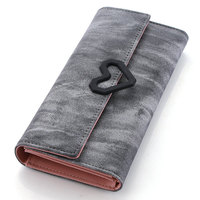 Trendy New Nubuck Leather Wallet Women Gradient Color Lovely Heart Ornament Purse Designer Simple PU Leather