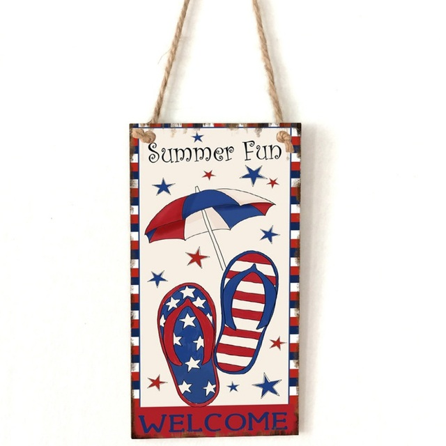 American Styled Wooden Decorative Hanging Plaque