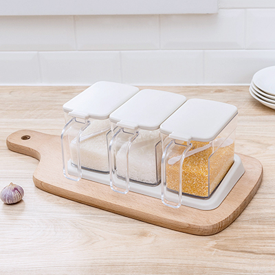 050 Fashion Simple transparent 3 lattice suit with spoon condiment box seasoning box 23 15 10cm in Bottles Jars Boxes from Home Garden
