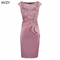 NYZY M3F Real Pink Short Mother of the Bride Lace Dresses 2019 Wedding Guest Wear Party Vestido Robe Cocktail Formal Gowns