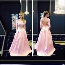 Neue Ankunft Rosa Lange Abendkleid Mit Perlen Und Cystal Zwei stück Lange Foraml Evening Kleid Benutzerdefinierte vestido de festa gala jurken