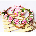Hair Crown +Bracelet Head Wreath Bridal Headpiece Wedding Holiday Flower Headband Accessories Wholesale