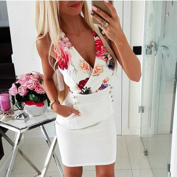 White Low Cut V Neck Floral Print Women Vestidos Blue Bodycon Dress Summer 2019 Mini Package Hips Dresses Sexy Office Dress Lady 1