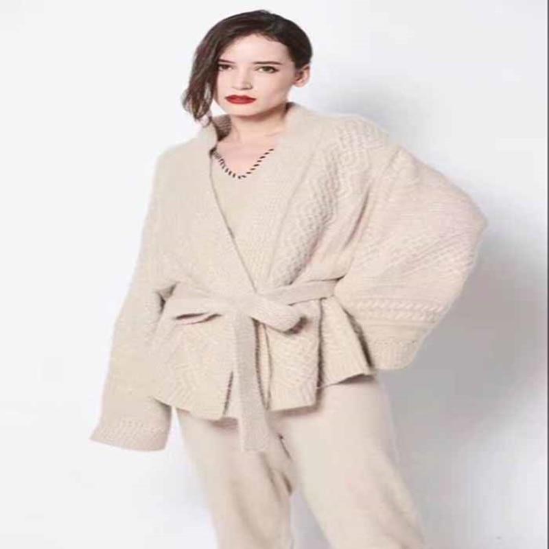 Manches Lâche Haut En Cardigan Automne Gamme 2018 Modèles Cachemire À De cou noir Femmes Uniforme V Hot New Tricot Et Pull Veste Longues Apricot D'hiver nkPw0O8X